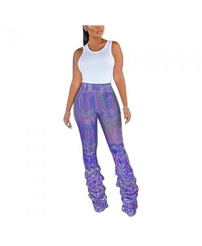 Rattlebush Flare Shiny Leggings for Women Ruffle Bell Bottom Pants Disco High Waist Legging