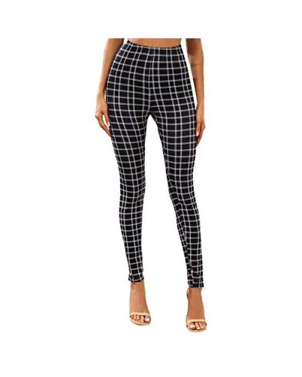 WDIRARA Women's Plaid Elastic High Waist Stretch Skinny Pants Casual Leggings