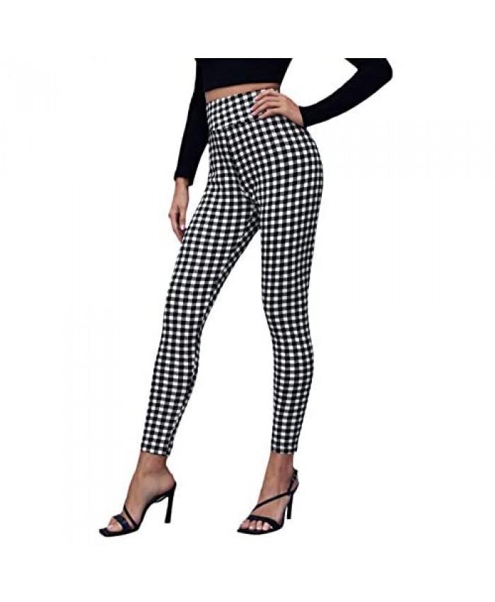 WDIRARA Women's Plaid Zip Front Skinny Pants Stretchy Work Gingham Leggings