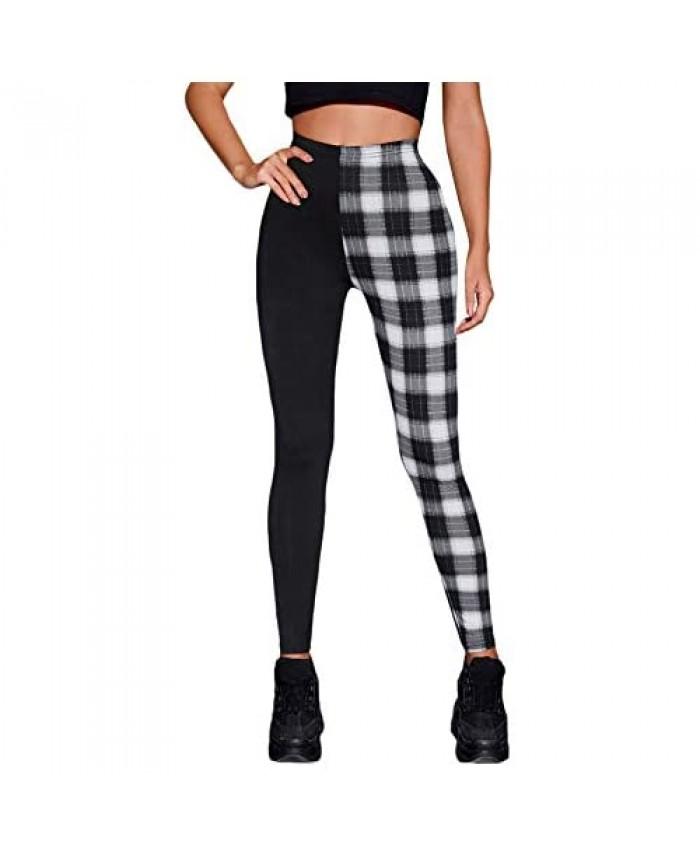 WDIRARA Women's Two Tone Plaid Elastic Waist Skinny Pants Casual Long Leggings